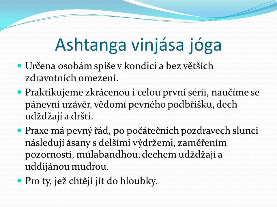 Ashtanga vinjása jóga Určena osobám spíše v kondici a bez větších zdravotních omezení.