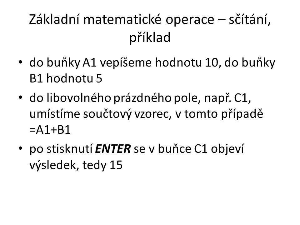 Základní matematické operace – sčítání, příklad