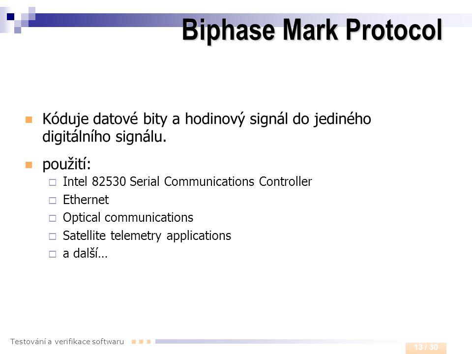 Biphase Mark Protocol Kóduje datové bity a hodinový signál do jediného digitálního signálu. použití: