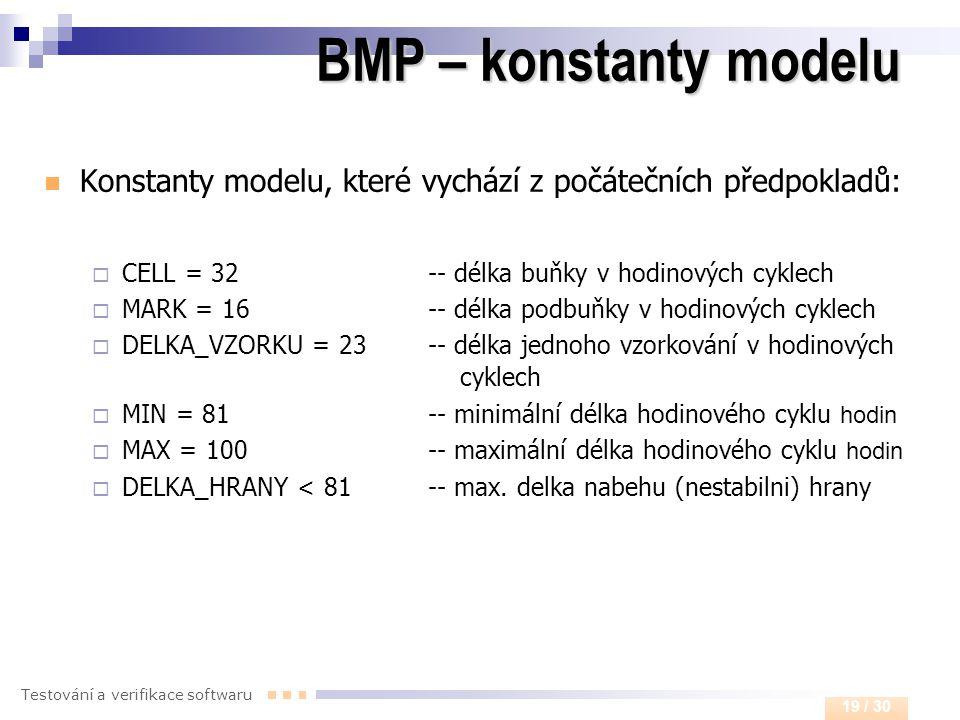 BMP – konstanty modelu Konstanty modelu, které vychází z počátečních předpokladů: CELL = 32 -- délka buňky v hodinových cyklech.