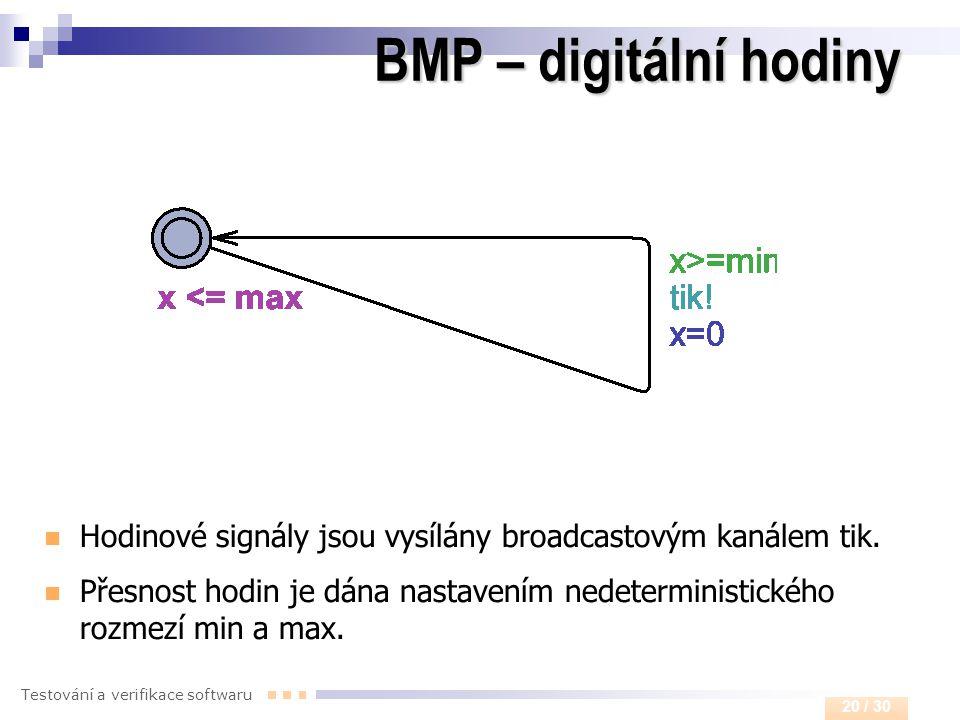 BMP – digitální hodiny Hodinové signály jsou vysílány broadcastovým kanálem tik.