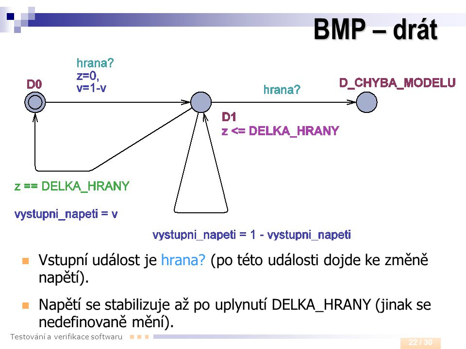 BMP – drát Vstupní událost je hrana (po této události dojde ke změně napětí).