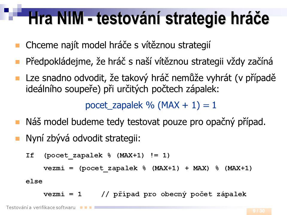 Hra NIM - testování strategie hráče