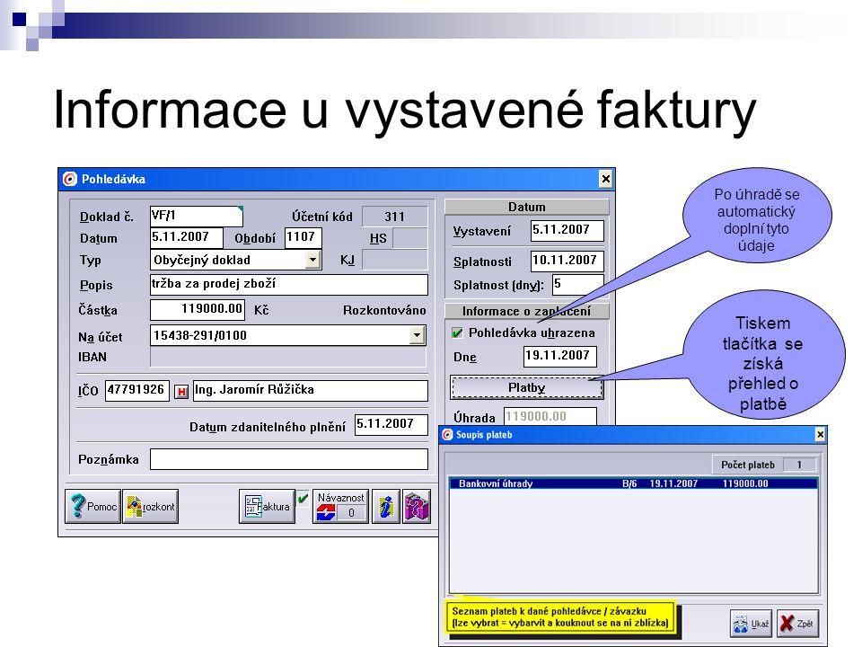 Informace u vystavené faktury