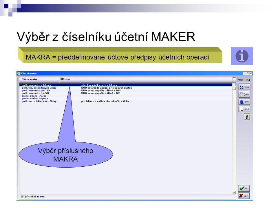 Výběr z číselníku účetní MAKER