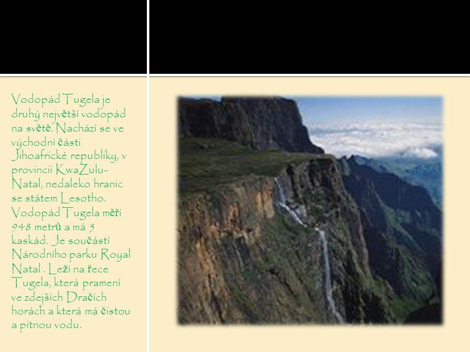 Vodopád Tugela je druhý největší vodopád na světě