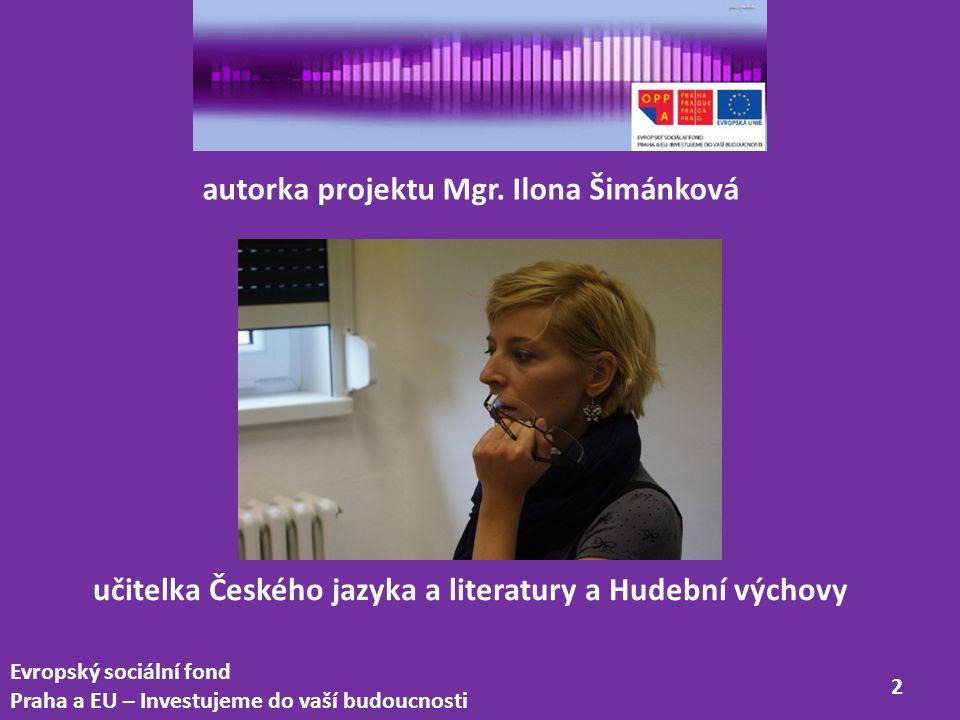 autorka projektu Mgr. Ilona Šimánková