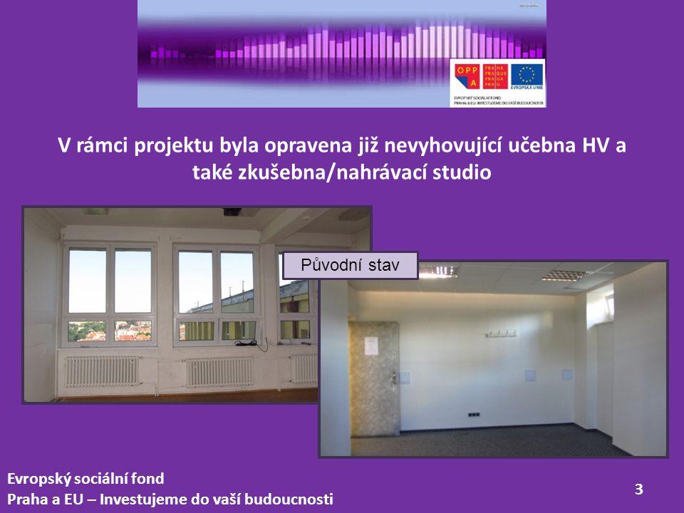 V rámci projektu byla opravena již nevyhovující učebna HV a také zkušebna/nahrávací studio