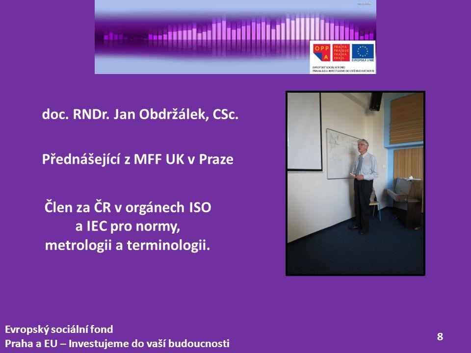 Člen za ČR v orgánech ISO a IEC pro normy, metrologii a terminologii.