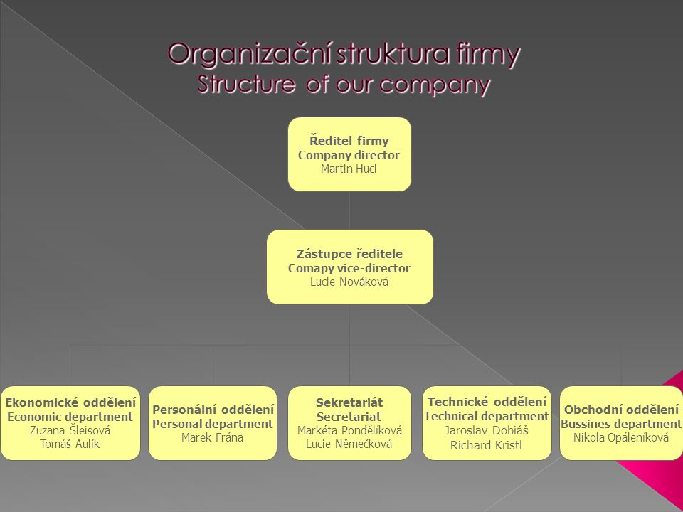 Organizační struktura firmy Structure of our company