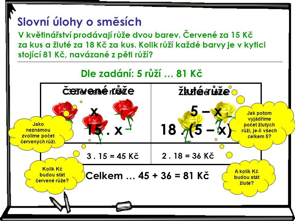 x 5 – x 15 . x 18 . (5 – x) Slovní úlohy o směsích červené růže
