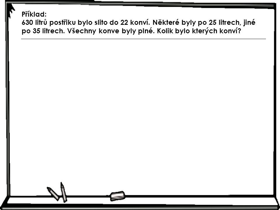 Příklad: 630 litrů postřiku bylo slito do 22 konví