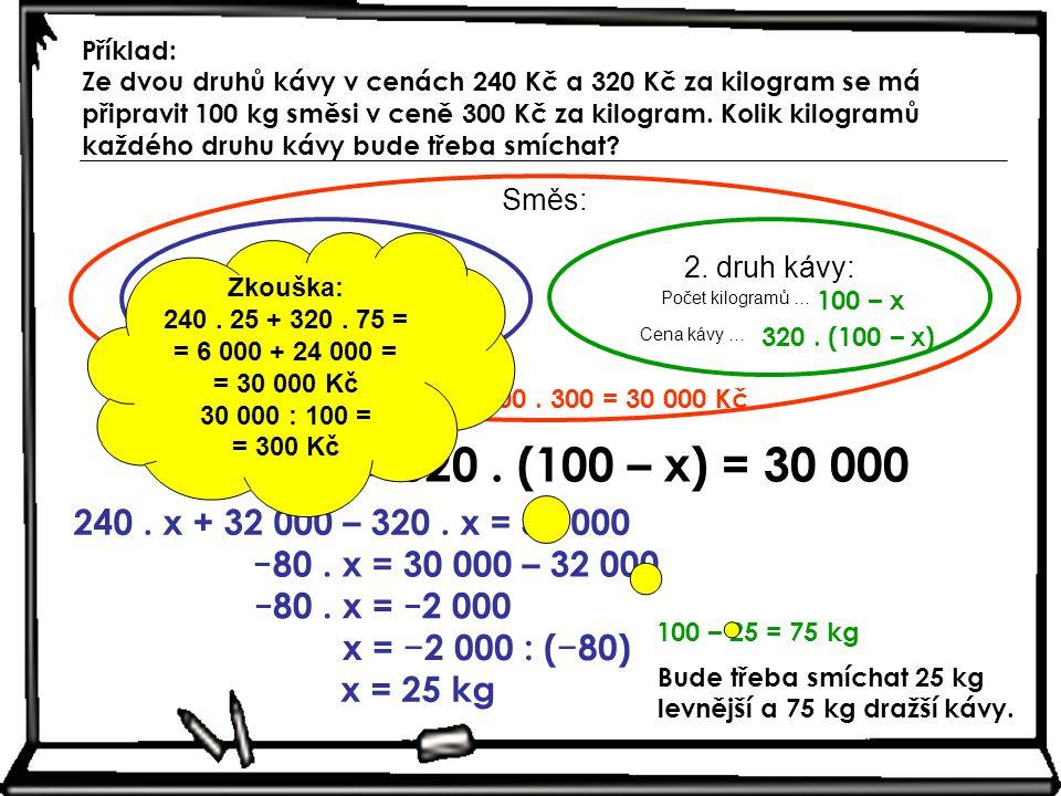 Příklad: Ze dvou druhů kávy v cenách 240 Kč a 320 Kč za kilogram se má připravit 100 kg směsi v ceně 300 Kč za kilogram. Kolik kilogramů každého druhu kávy bude třeba smíchat