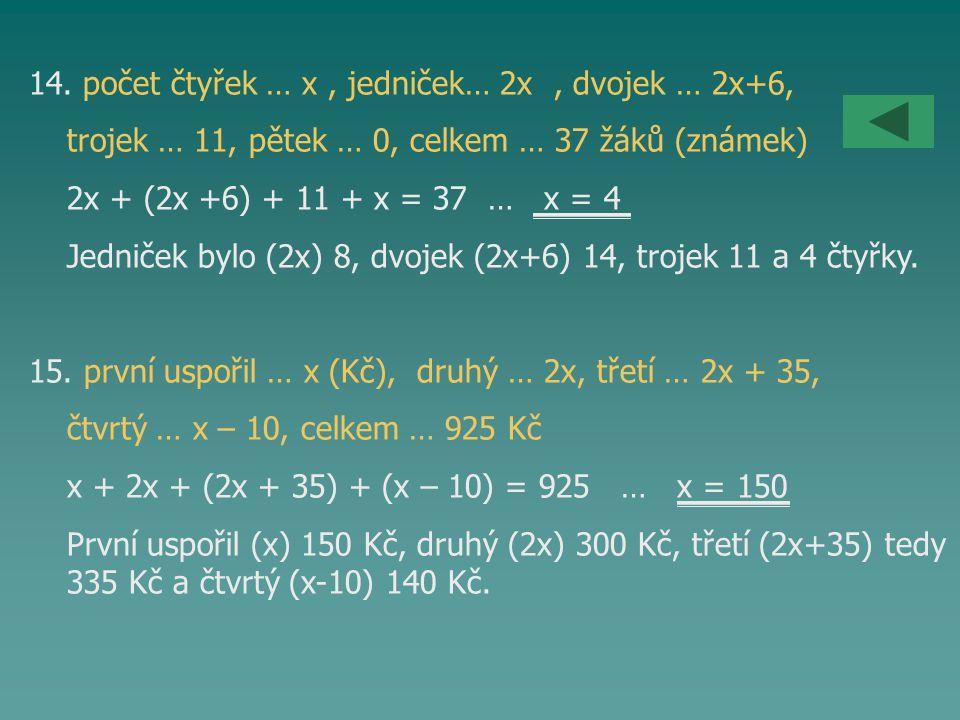 14. počet čtyřek … x , jedniček… 2x , dvojek … 2x+6,