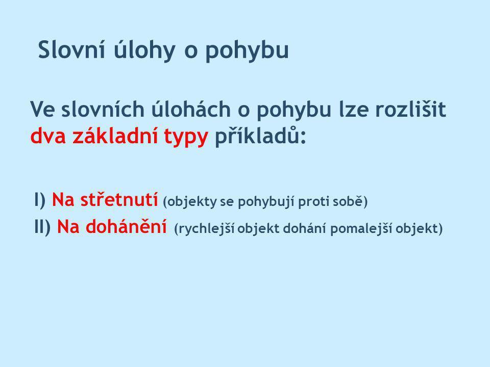 Slovní úlohy o pohybu Ve slovních úlohách o pohybu lze rozlišit dva základní typy příkladů: I) Na střetnutí (objekty se pohybují proti sobě)