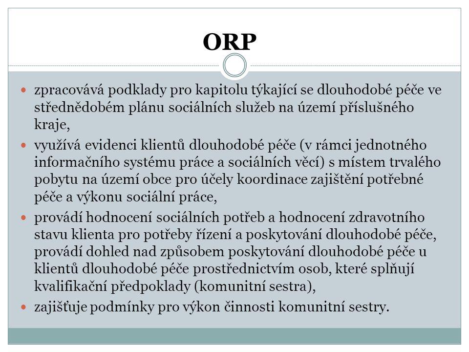 ORP zpracovává podklady pro kapitolu týkající se dlouhodobé péče ve střednědobém plánu sociálních služeb na území příslušného kraje,