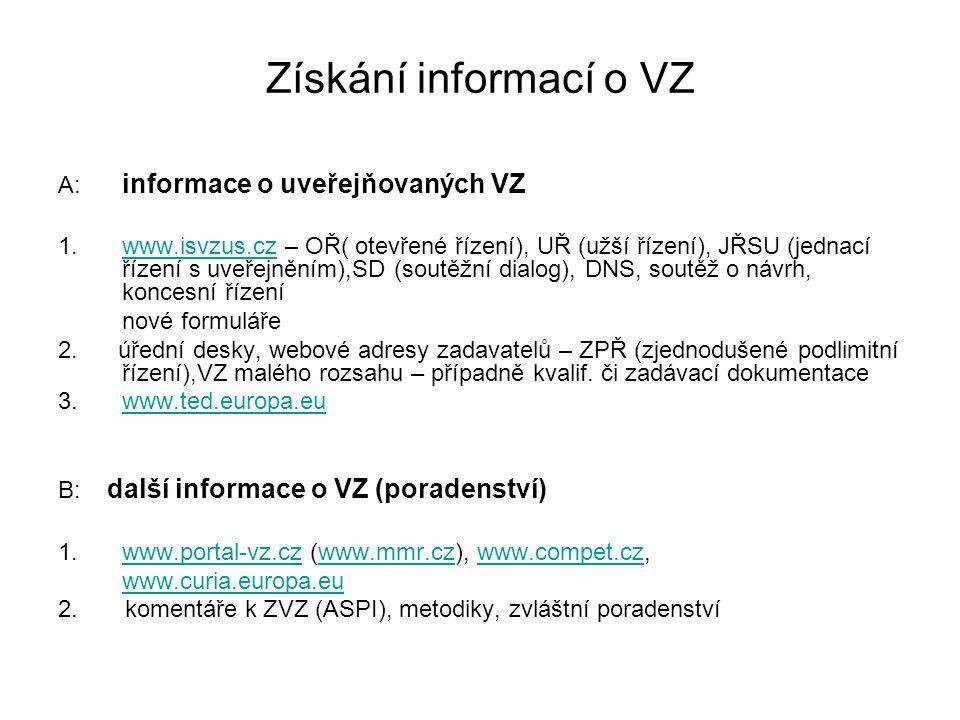 Získání informací o VZ A: informace o uveřejňovaných VZ