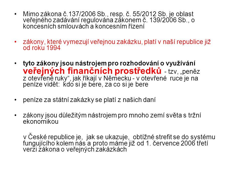 Mimo zákona č. 137/2006 Sb. , resp. č. 55/2012 Sb