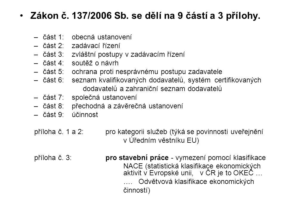 Zákon č. 137/2006 Sb. se dělí na 9 částí a 3 přílohy.