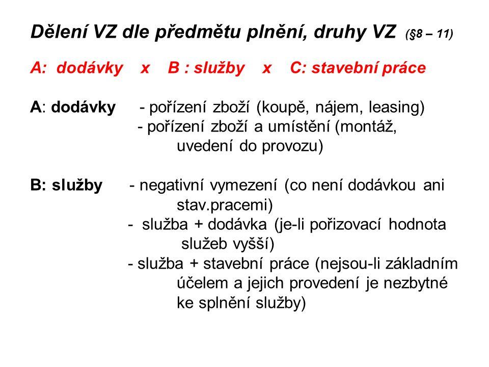 Dělení VZ dle předmětu plnění, druhy VZ (§8 – 11)