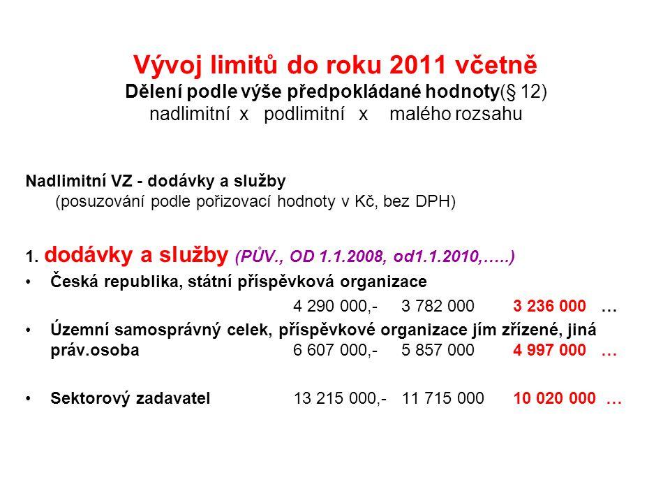 Vývoj limitů do roku 2011 včetně Dělení podle výše předpokládané hodnoty(§ 12) nadlimitní x podlimitní x malého rozsahu