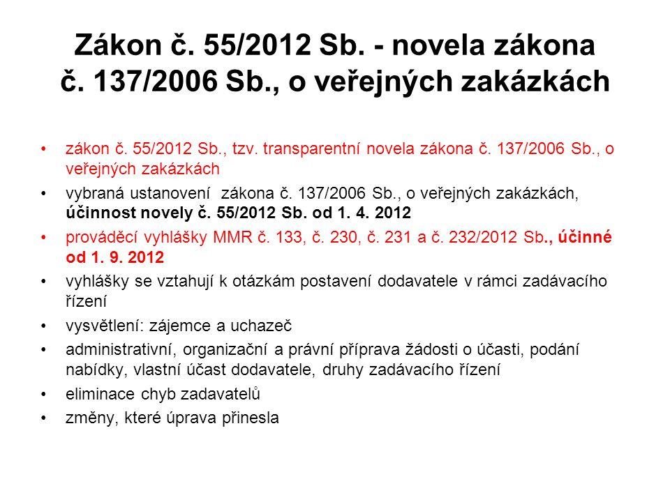 Zákon č. 55/2012 Sb. - novela zákona č. 137/2006 Sb