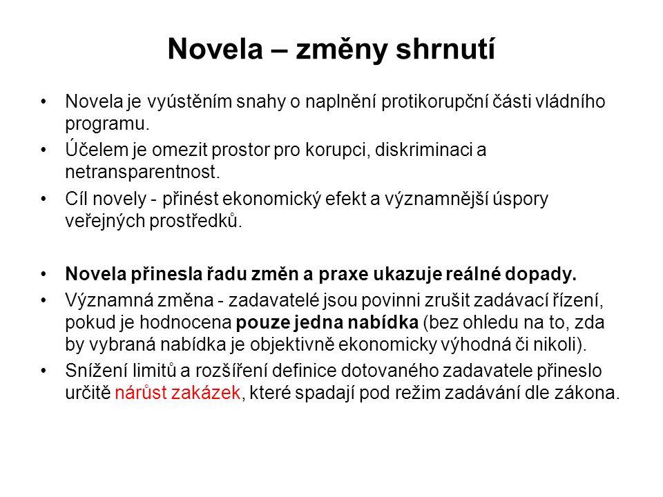 Novela – změny shrnutí Novela je vyústěním snahy o naplnění protikorupční části vládního programu.