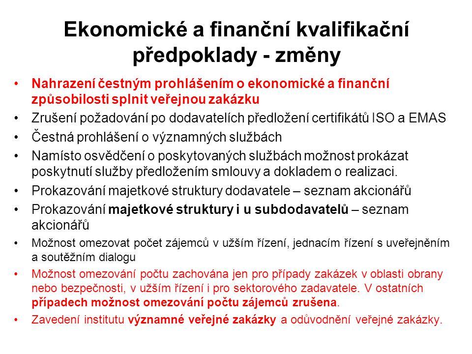 Ekonomické a finanční kvalifikační předpoklady - změny