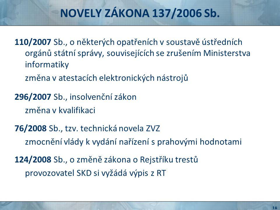 NOVELY ZÁKONA 137/2006 Sb.