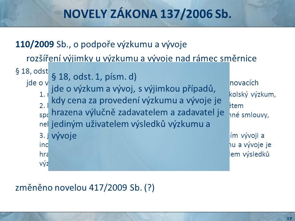 NOVELY ZÁKONA 137/2006 Sb. 110/2009 Sb., o podpoře výzkumu a vývoje