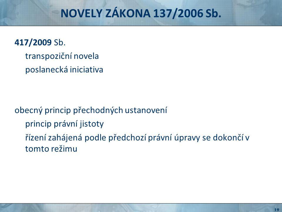NOVELY ZÁKONA 137/2006 Sb. 417/2009 Sb. transpoziční novela