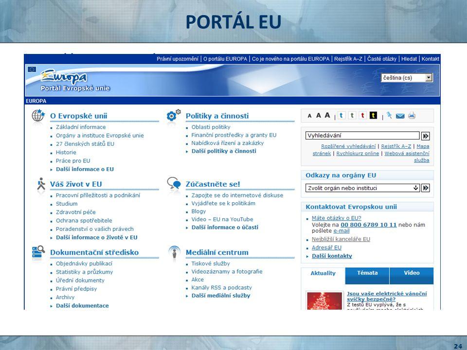 PORTÁL EU http://europa.eu/index_cs.htm oficiální stránky EU
