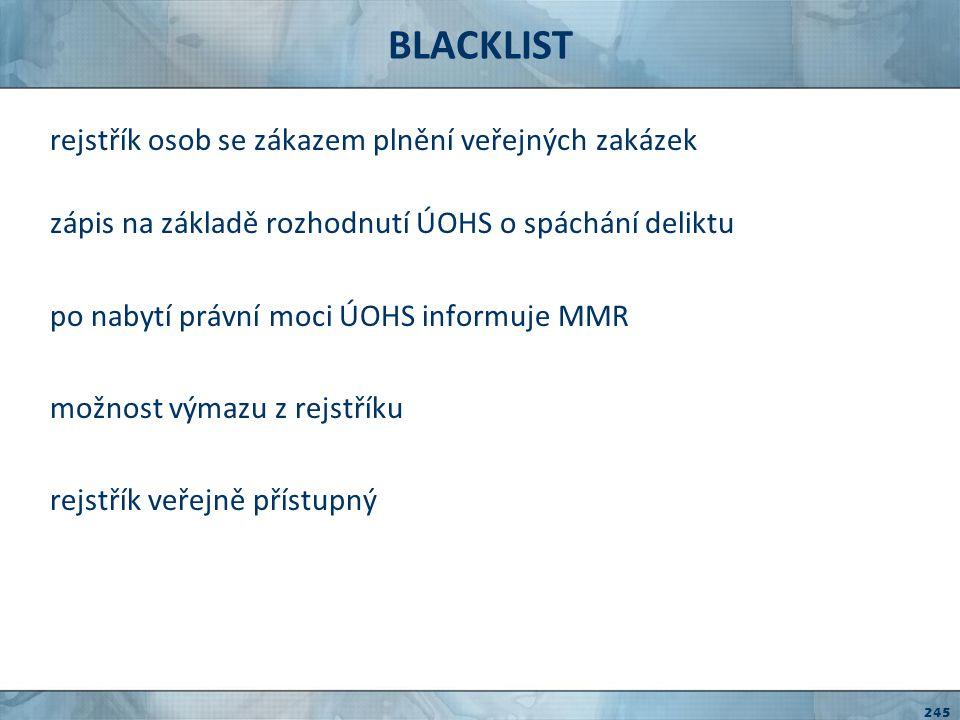 BLACKLIST rejstřík osob se zákazem plnění veřejných zakázek