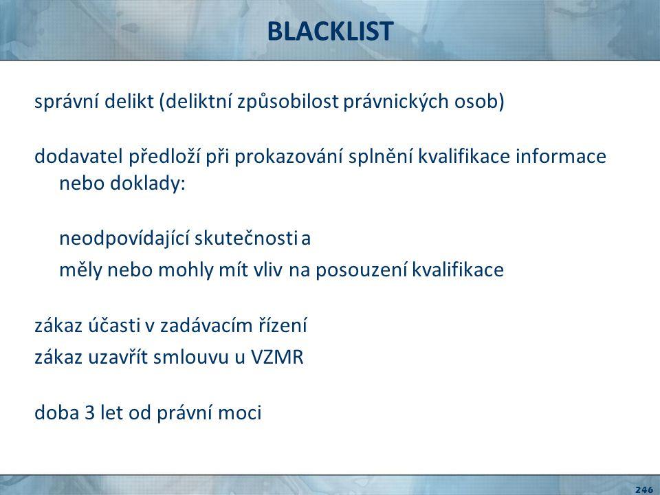 BLACKLIST správní delikt (deliktní způsobilost právnických osob)