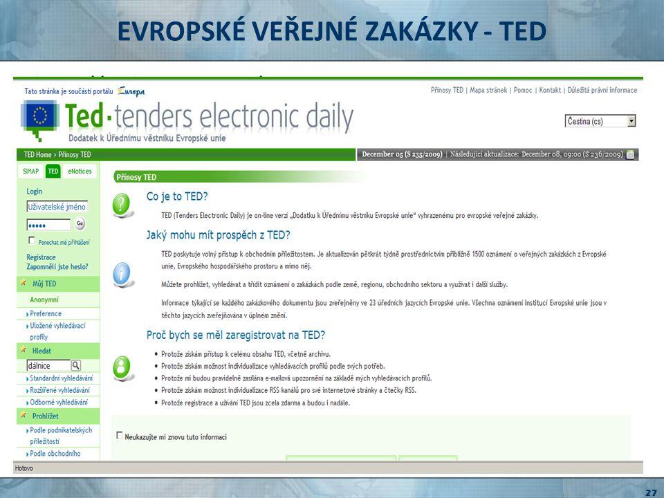 EVROPSKÉ VEŘEJNÉ ZAKÁZKY - TED
