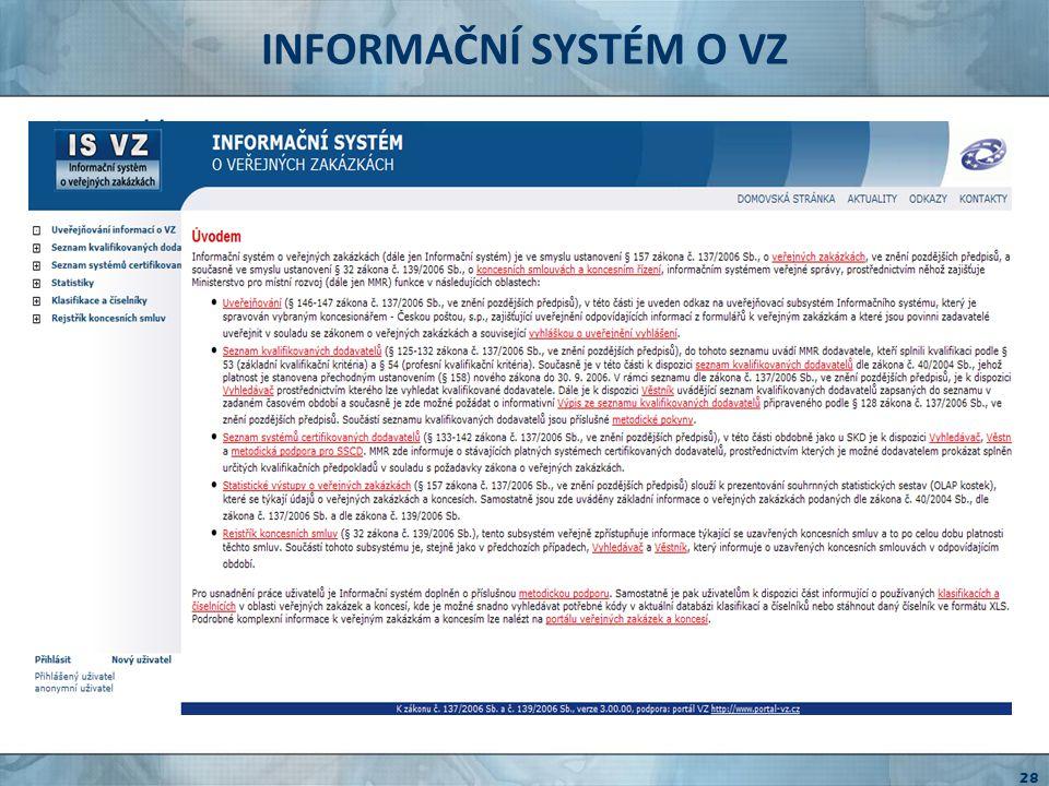 INFORMAČNÍ SYSTÉM O VZ http://www.isvz.cz národní informační systém