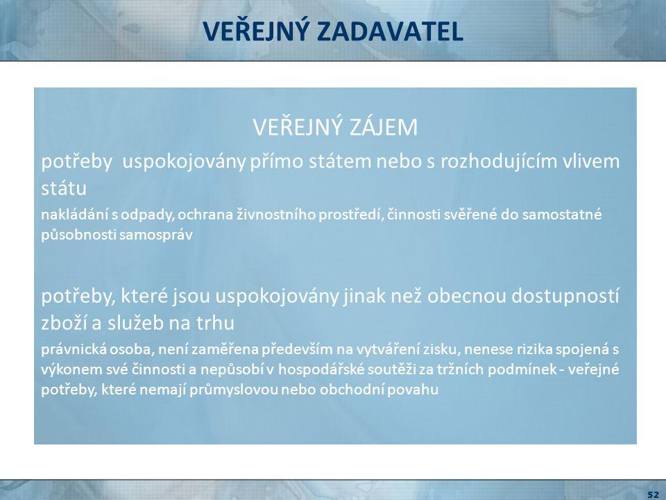 VEŘEJNÝ ZADAVATEL VEŘEJNÝ ZÁJEM ČESKÁ REPUBLIKA Česká republika ( )