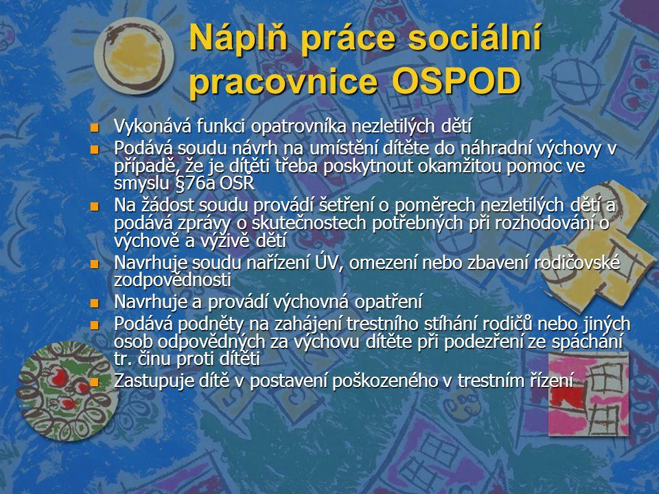 Náplň práce sociální pracovnice OSPOD