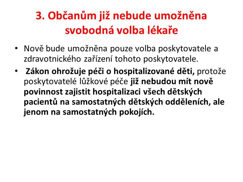 3. Občanům již nebude umožněna svobodná volba lékaře