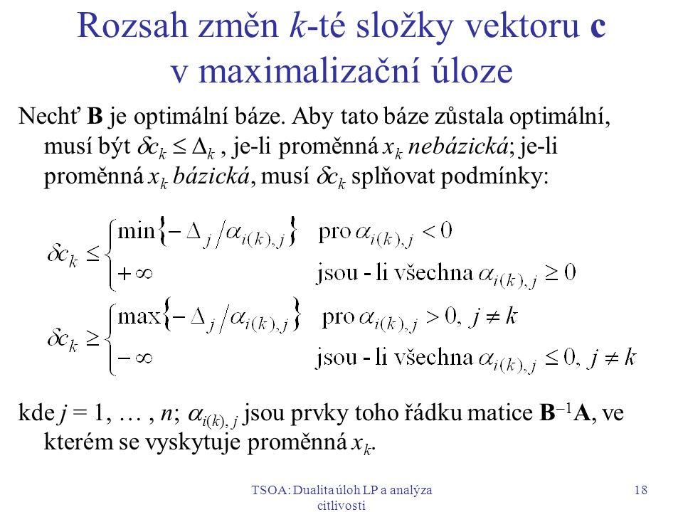 Rozsah změn k-té složky vektoru c v maximalizační úloze