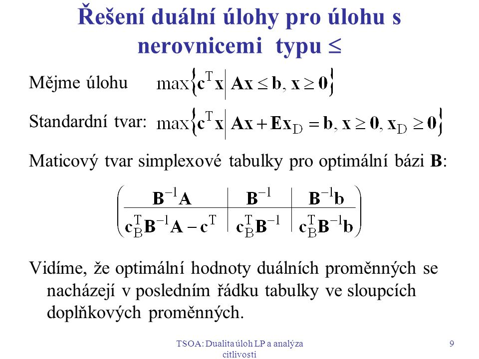 Řešení duální úlohy pro úlohu s nerovnicemi typu 