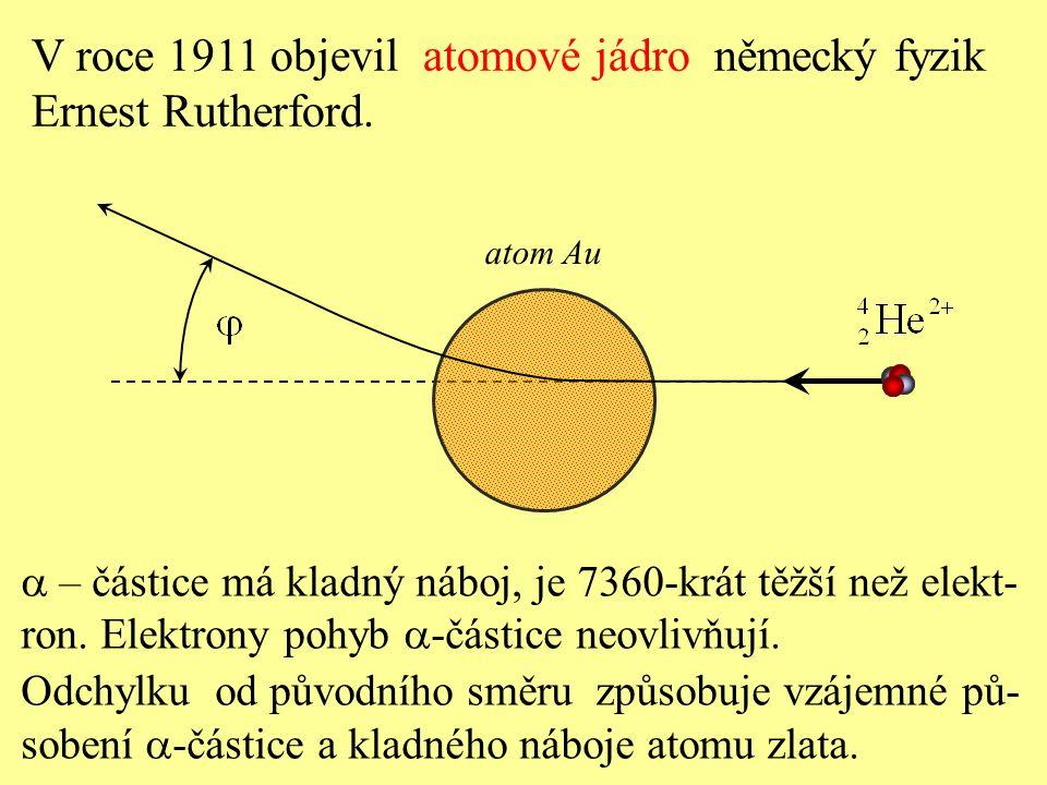 V roce 1911 objevil atomové jádro německý fyzik Ernest Rutherford.
