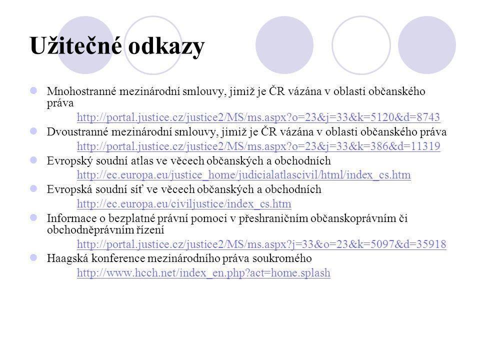 Užitečné odkazy Mnohostranné mezinárodní smlouvy, jimiž je ČR vázána v oblasti občanského práva.
