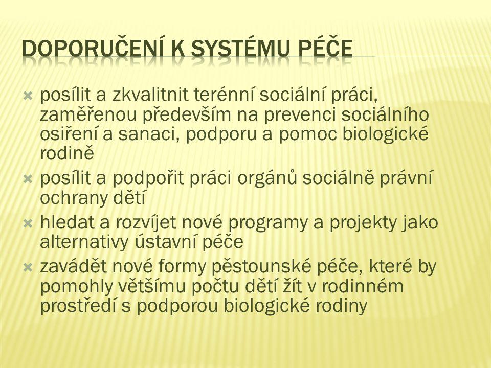 Doporučení k systému péče