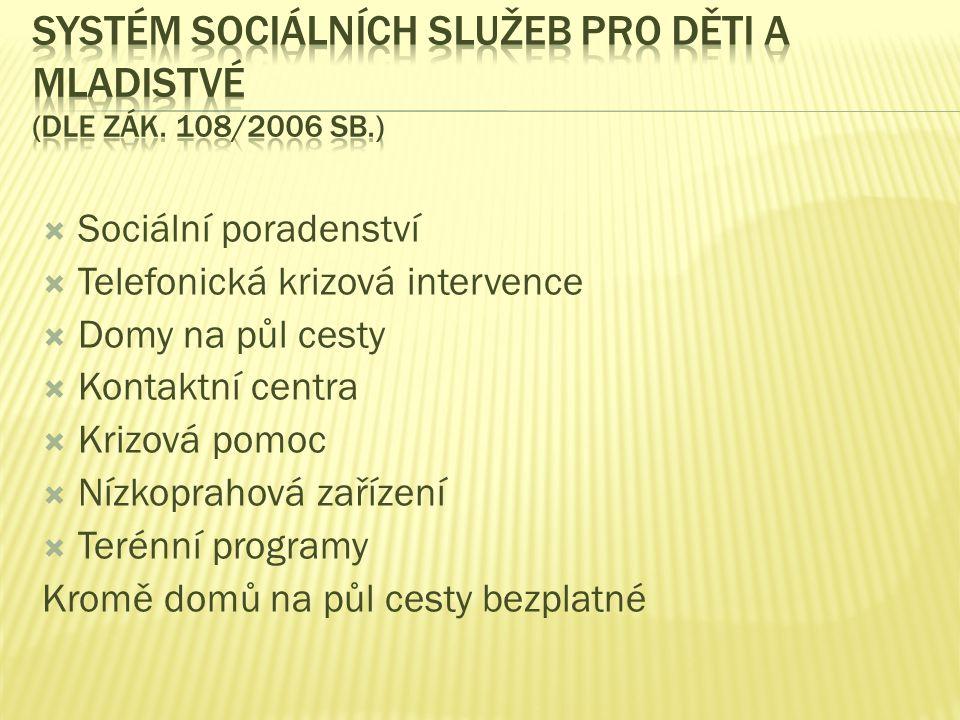 Systém sociálních služeb pro děti a mladistvé (dle zák. 108/2006 Sb.)