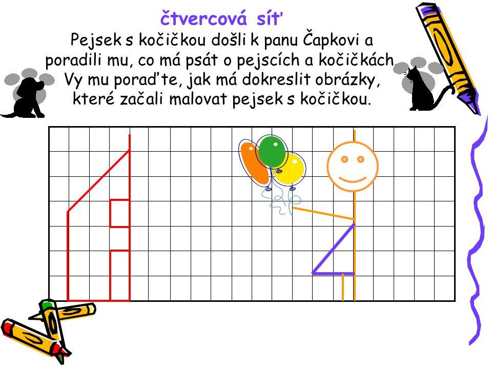 čtvercová síť Pejsek s kočičkou došli k panu Čapkovi a poradili mu, co má psát o pejscích a kočičkách.
