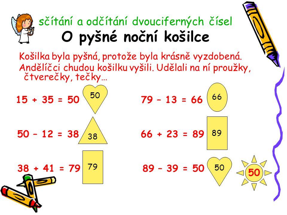 sčítání a odčítání dvouciferných čísel O pyšné noční košilce