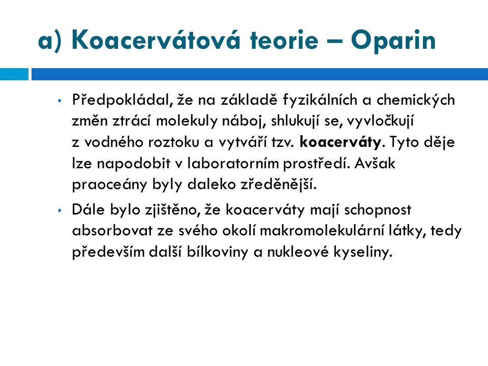 a) Koacervátová teorie – Oparin