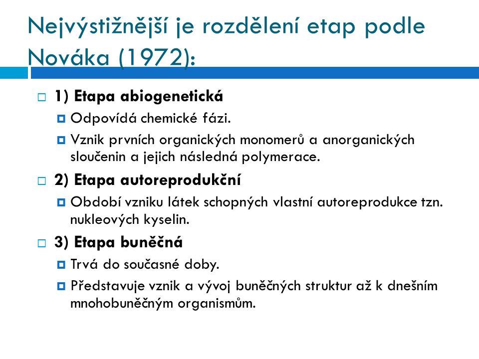 Nejvýstižnější je rozdělení etap podle Nováka (1972):