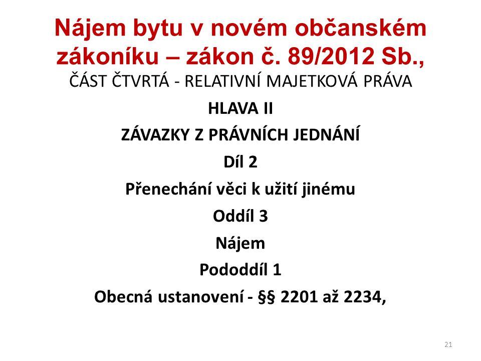 Nájem bytu v novém občanském zákoníku – zákon č. 89/2012 Sb.,